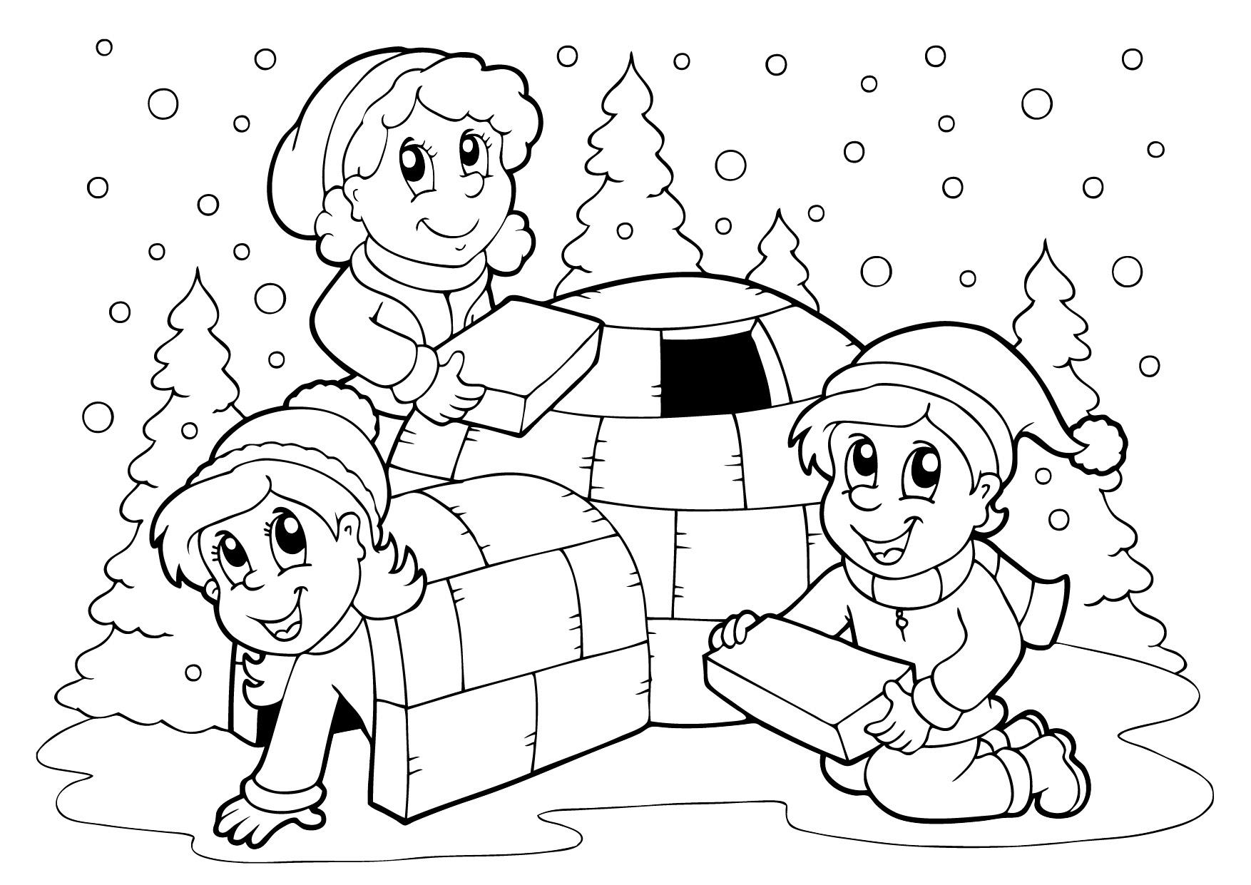 интересные детские раскраски на тему зима дети строят
