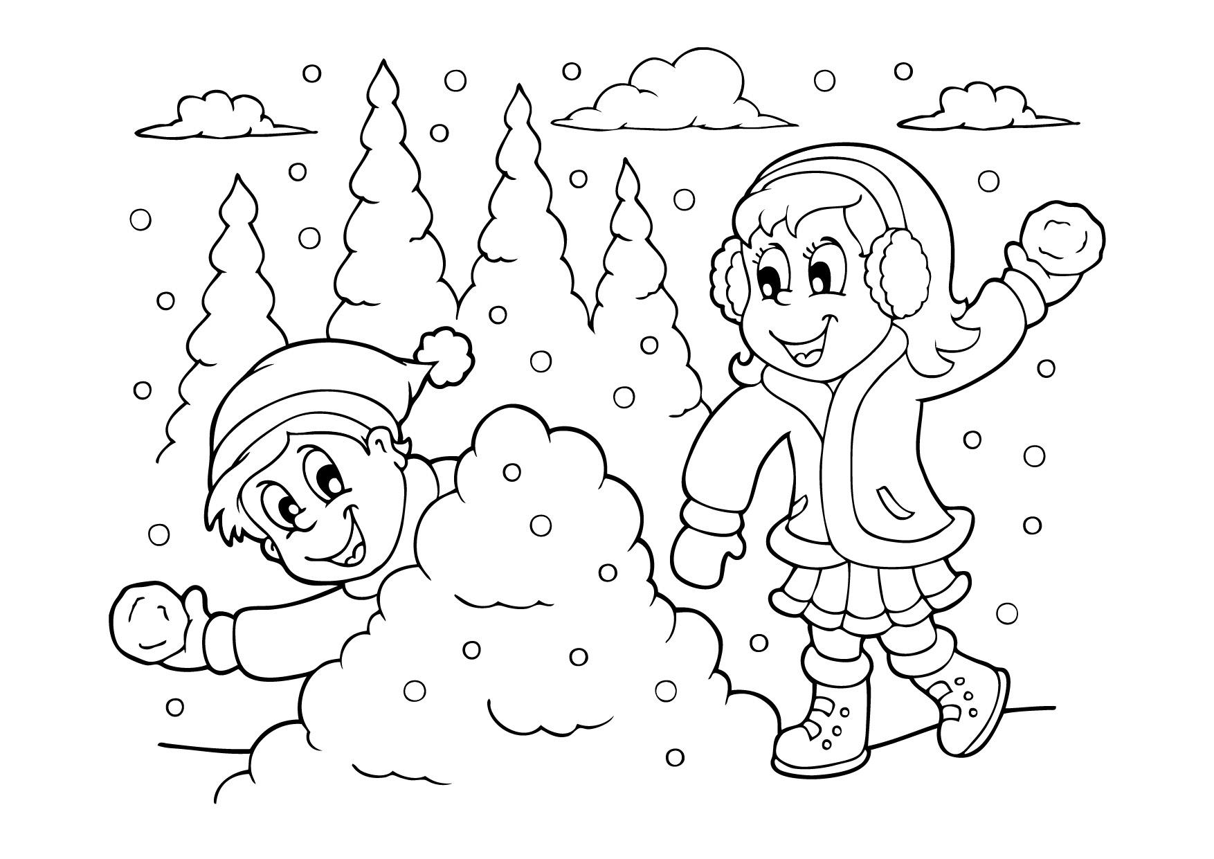 интересные детские раскраски на тему зима дети играют в