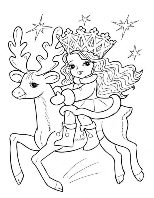 Раскраска зима новый год снегурочка на олене, звезды