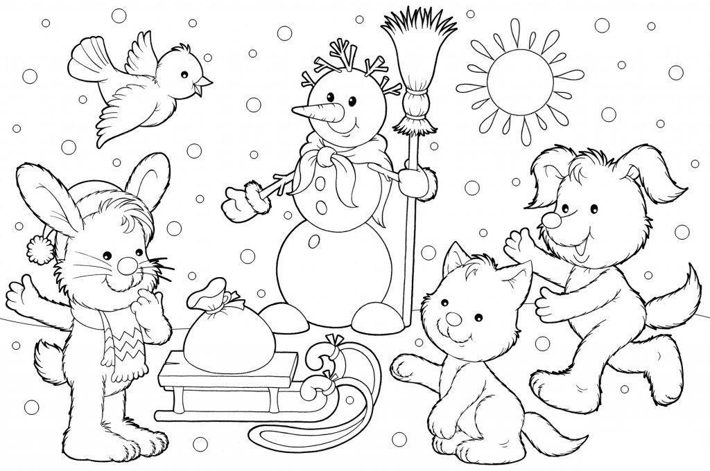 Картинки раскраски зима новый год