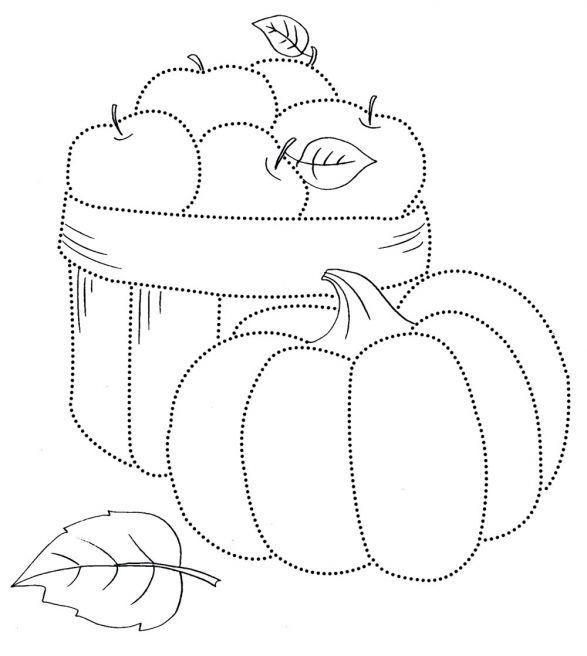 Раскраска осень, тыква и корзина яблок по точкам