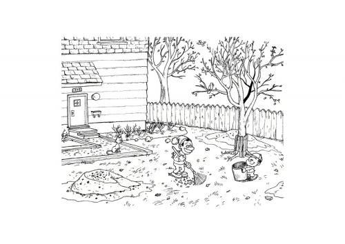 Раскраски осень | раскраски онлайн, уборка листьев во дворе