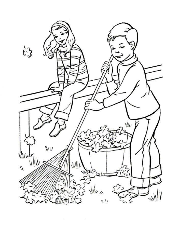 Раскраска. Раскраска осень детская, уборка осенних листьев
