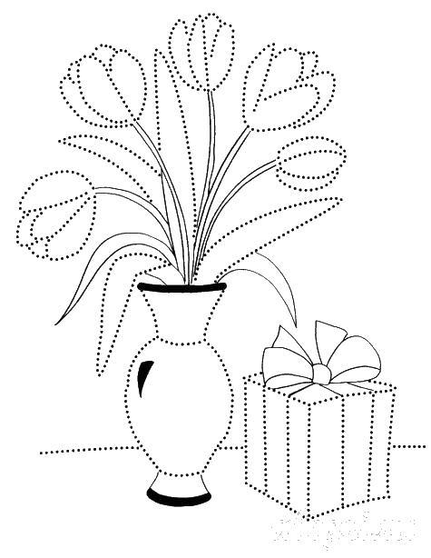 Раскраска весна, тюльпаны в вазе и подарок по точкам