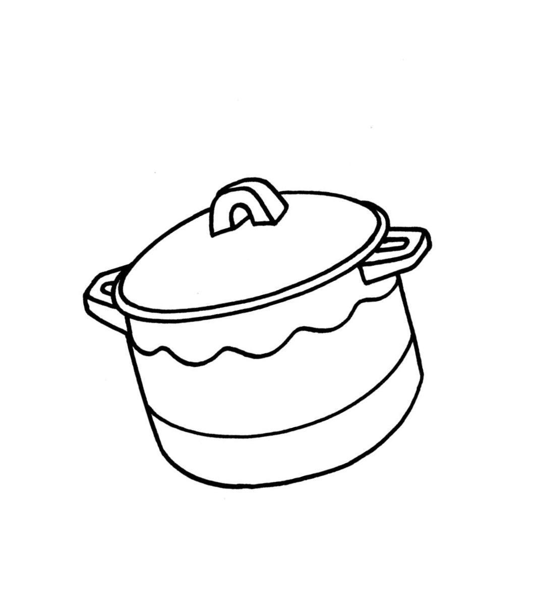 Раскраски посуда детская раскраска посуда,  кастрюля