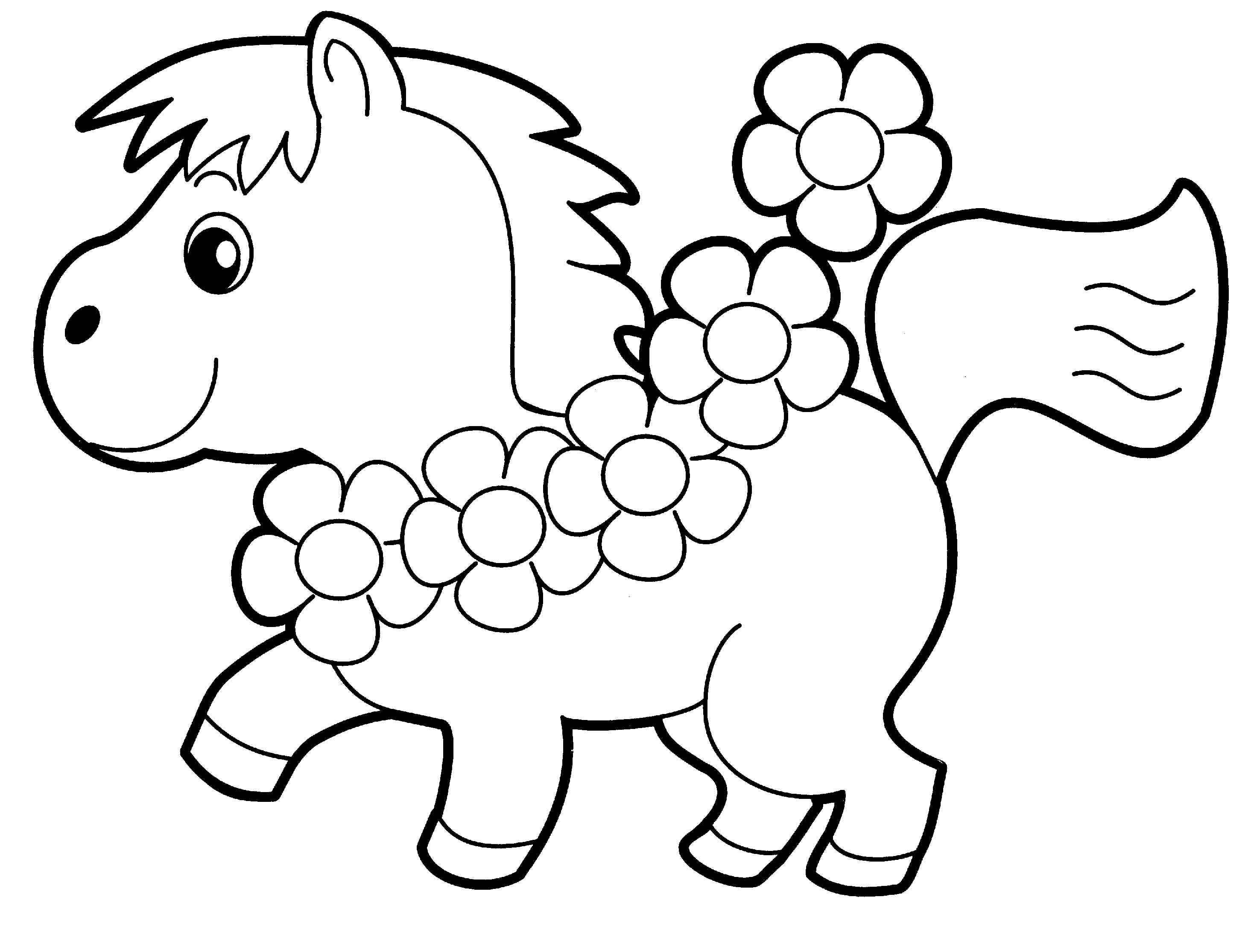 Скачать раскраски для детей 3-5 лет. пони в цветах