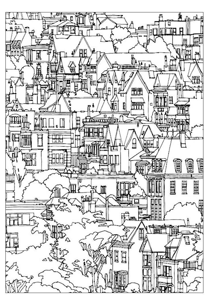 Раскраски для взрослых антистресс распечатать, город, дома ...