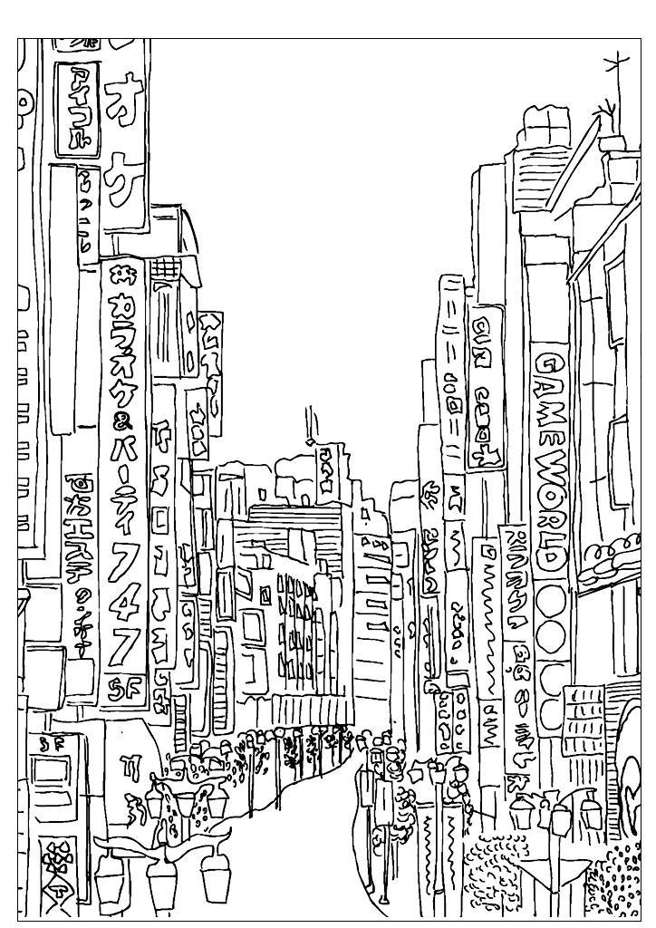 Раскраски для взрослых антистресс распечатать, городская улица