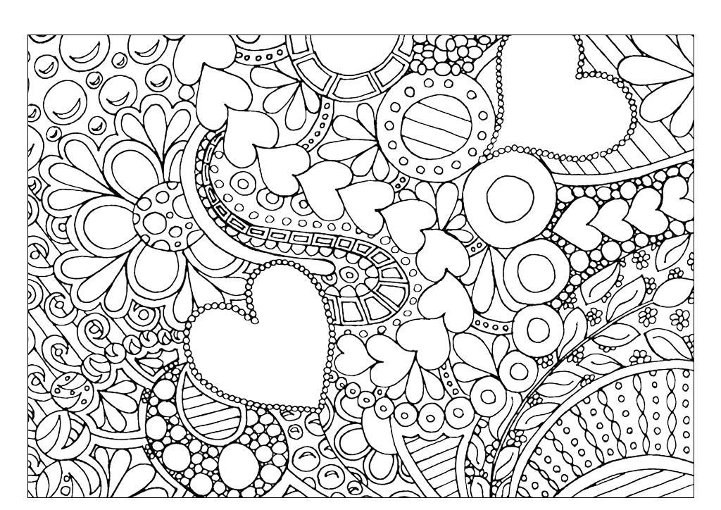 Цветочки сердечки, раскраски арт-терапия, картинки ...