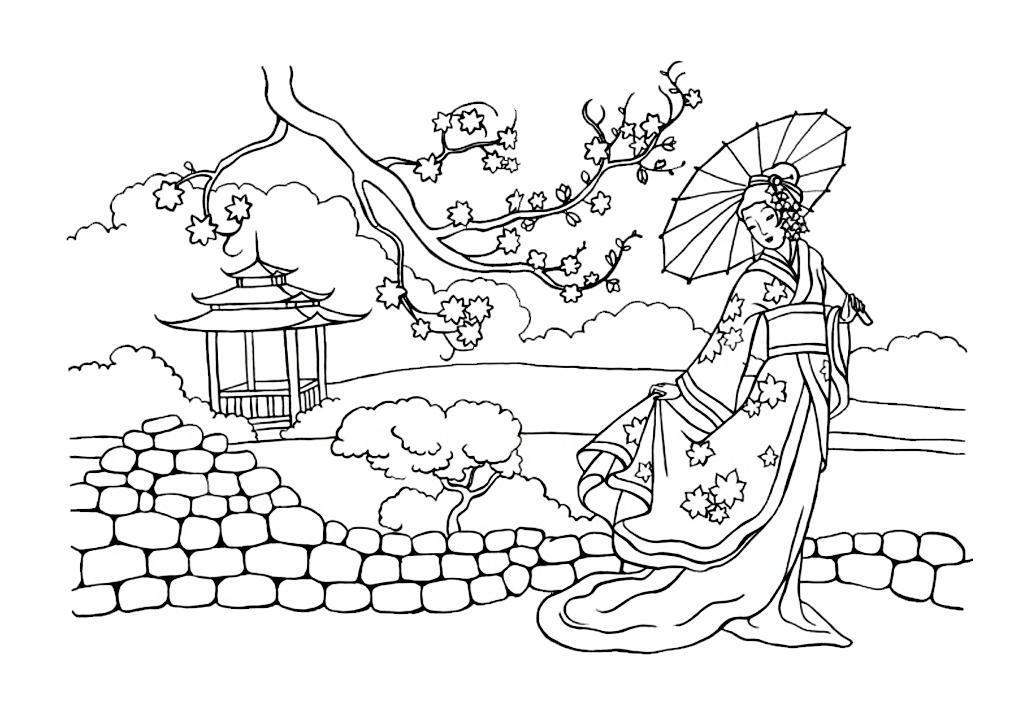 Раскраска. Девушка сзонтиком, цветущая ветка, япония ...