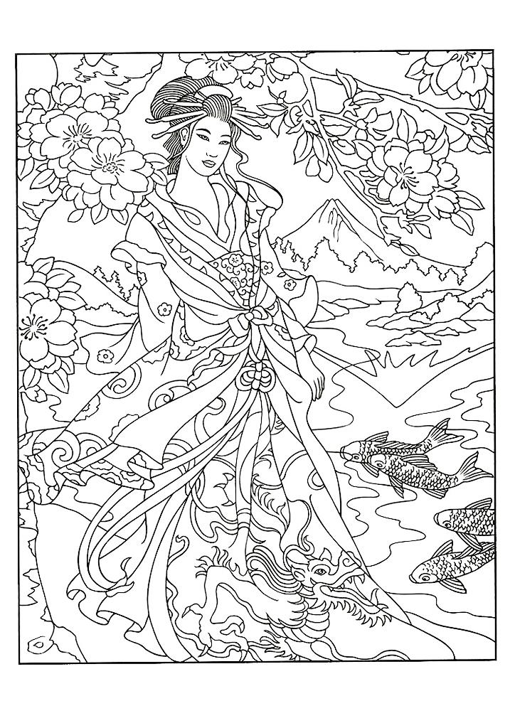 Девушка, цветы, океан, япония, корея, китай, раскраски арт ...