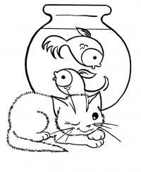 Раскраска детская кошка и аквариумные рыбки