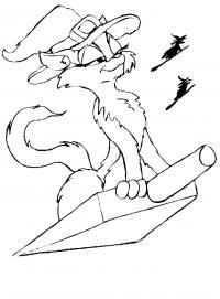 Распечатать бесплатные раскраски для детей: животные: кошки, котята, кошка ведьмочка летит на совке