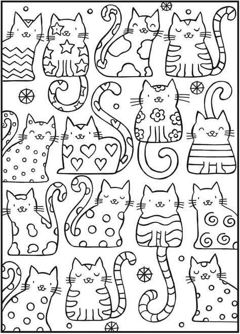 Раскраска. Антистресс раскраски кошки детские