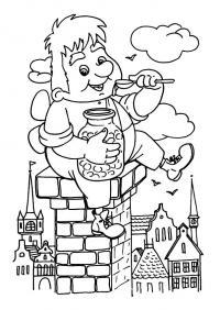 Рисунки для витражных красок из мульфильма малыш и карлсон. карлсон ест варенье