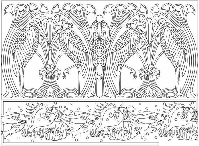 Раскраска для взрослых, птицы и рыбы