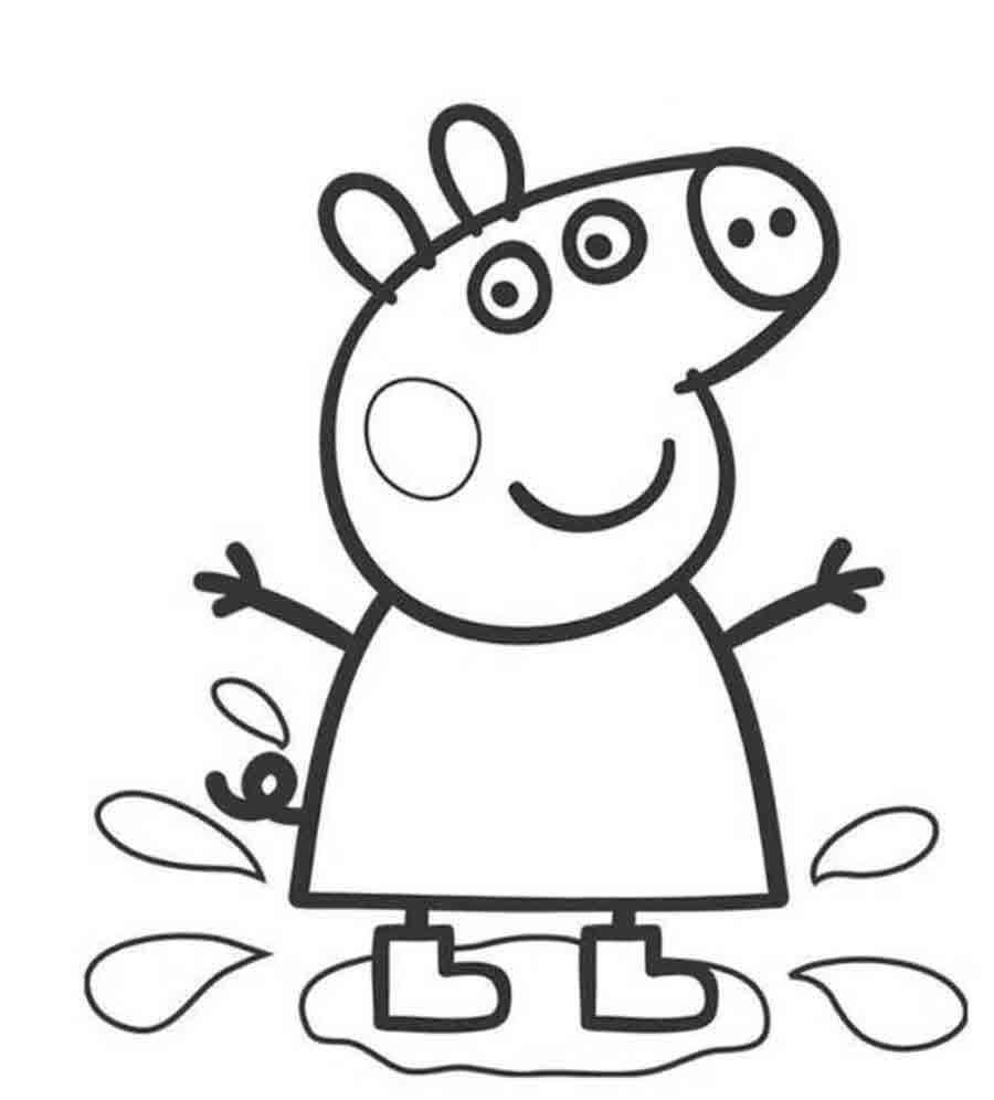 Для раскраски - свинка пеппа в луже