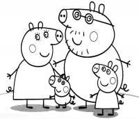 Для раскраски - свинка пеппа с семьей