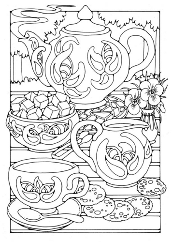Трафарет витражная роспись, накрытый стол