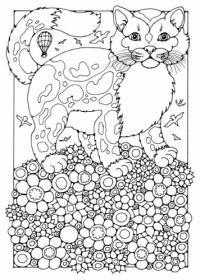Витражи картинки, кошка на цветочной полянке