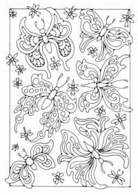 Картинка для витража, бабочки