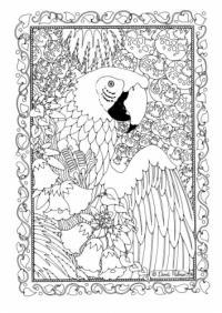 Витраж шаблон, попугай в тропическом лесу