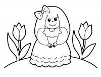 Распечатать раскраски для малышей на принтере, девочка в бантике среди цветов