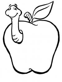 Скачать или распечатать раскраску распечатать скачать, червячок в яблоке