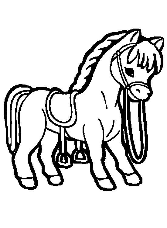 Скачать бесплатные раскраски для маленьких, запряженная лошадь