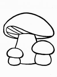 Распечатать раскраску для самых маленьких, грибочки