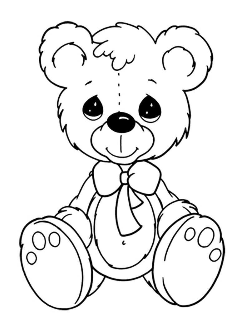 Раскраска для детей распечатать бесплатно, мишка