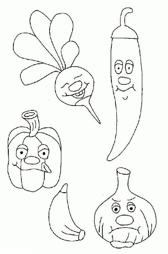 Раскраска овощи - перцы, редис, чеснок с улыбкой