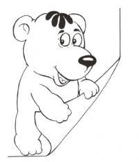 Распечатать раскраску для самых маленьких, медвежонок