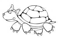 Детские раскраски для, черепашка в бантике