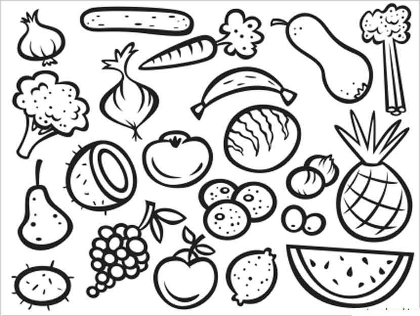 Раскраска. овощи