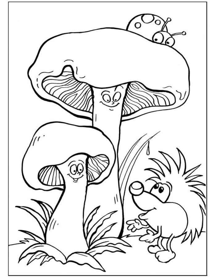 Детские раскраски для девочек и мальчиков, грибы