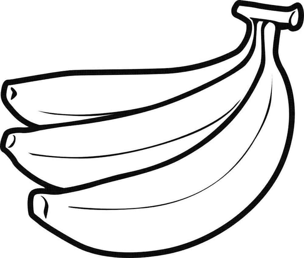 Широкий контур Скачать или распечатать раскраску распечатать скачать, банан Раскраски распечатать