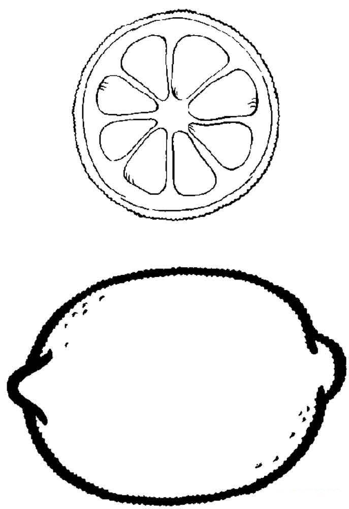 Широкий контур Скачать или распечатать раскраску распечатать скачать, лимон целый в разрезе Раскраски распечатать