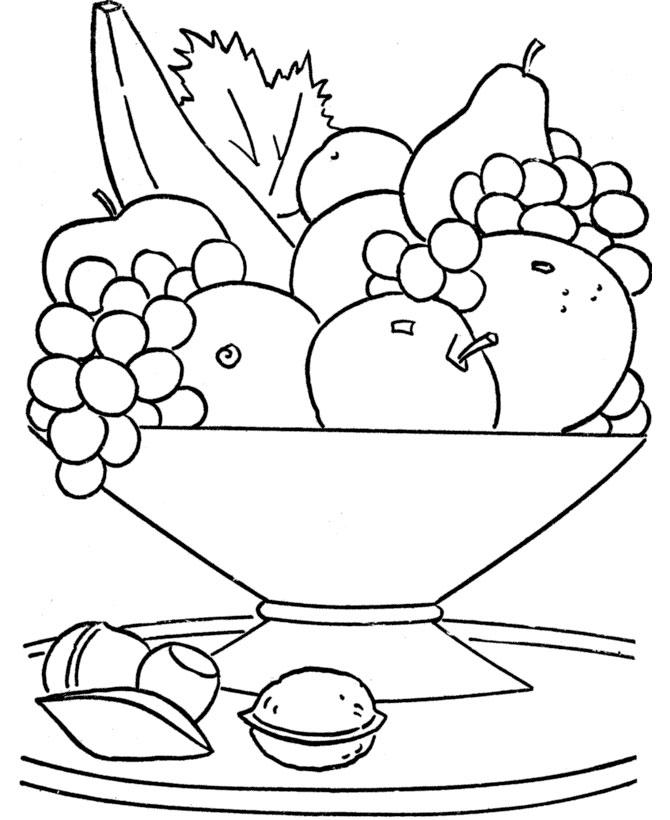 Детские раскраски с фруктами, ваза с фруктами ти орехами