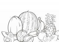 Скачать или распечатать раскраску распечатать скачать, арбуз, дыня, ананас