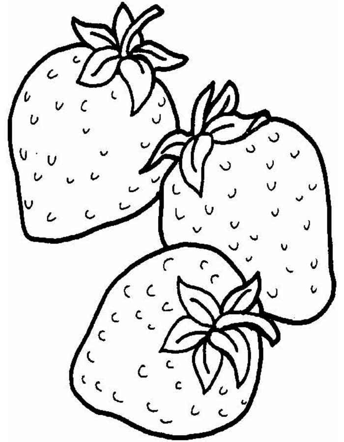 Детские раскраски для девочек и мальчиков, три ягоды клубники