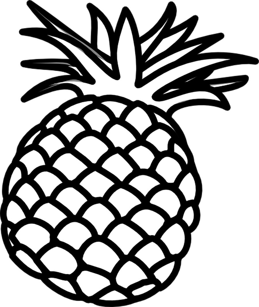 Раскраски фрукты и овощи ананас контур, фрукты контур для вырезания из бумаги