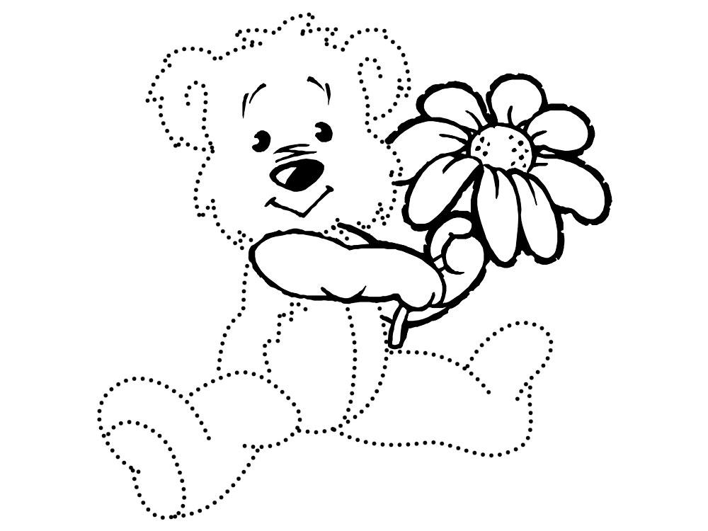 По точкам Детские раскраски по точкам, медвежонок с ромашкой Раскраски распечатать