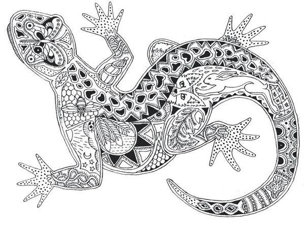 Раскраска антистресс ящерица животные