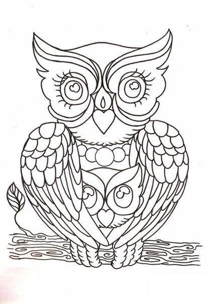 Раскраска. Раскраски для взрослых сова на ветке птица