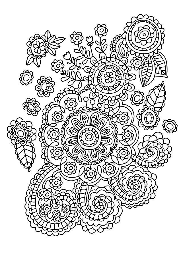 Детские раскраски для девочек и мальчиков, узор с цветочками