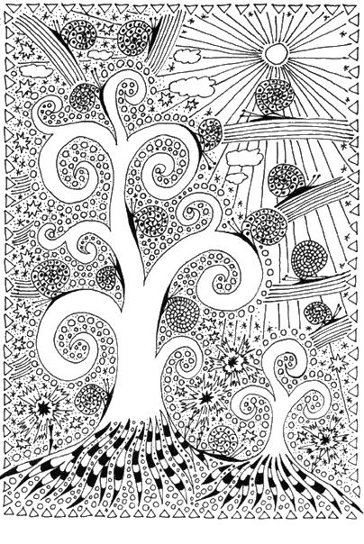 Раскраски антистресс, дерево, улитки, абстракции ...