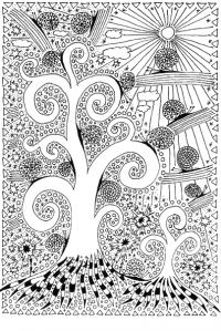 Раскраски антистресс, дерево, улитки, абстракции