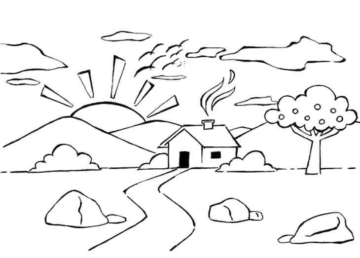 Скачать или распечатать раскраску распечатать скачать, домик в горах