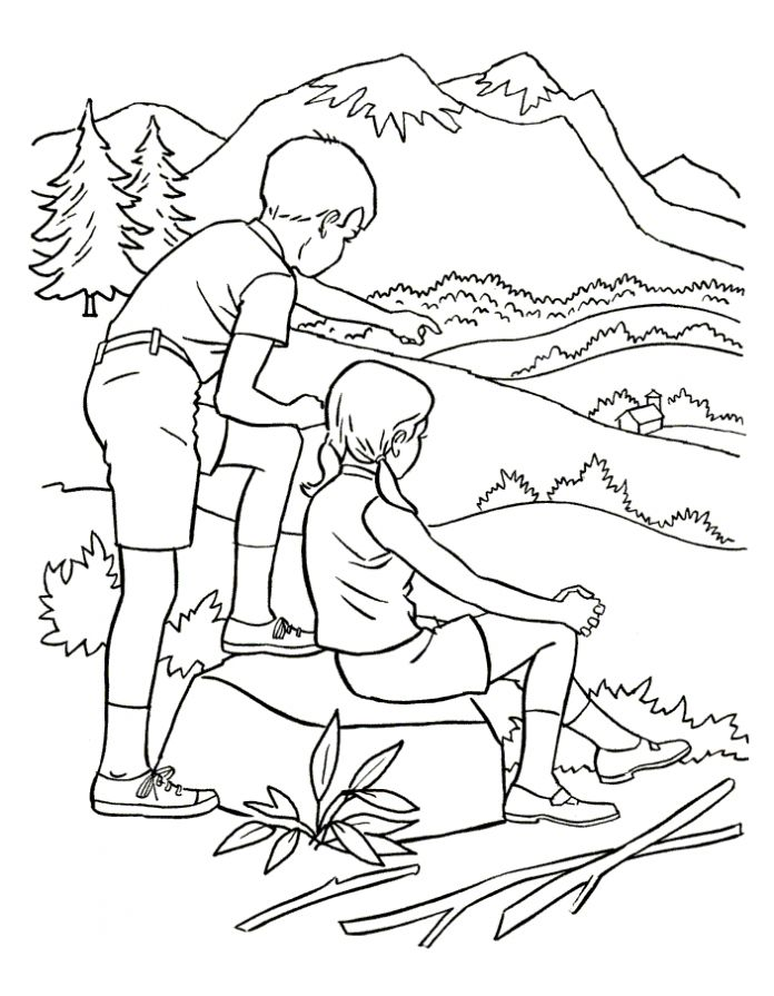 Раскраска дети в горах